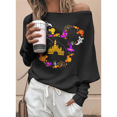 Halloween Print Off the Shoulder Long Sleeves Casual Blouses