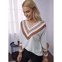Impresión Cuello en V Casual Suéteres