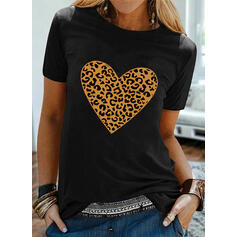 Leopard Heart Print Round Neck Short Sleeves T-shirts