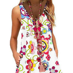 Print/Floral Sleeveless Shift Above Knee Casual/Boho/Vacation Dresses