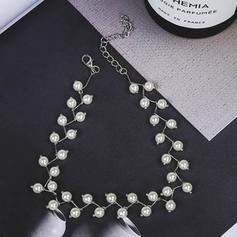 Tökéletes Ötvözet Utánzat gyöngyök -Val Pearl utánzat Női divat nyaklánc (Egy darabban eladva)