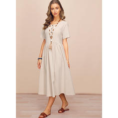 Solid Short Sleeves Shift Midi Casual Dresses