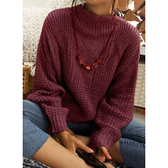 Solid Chunky knit Stand Collar Casual Sweaters