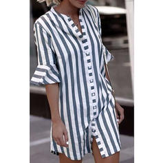 Striped V-Neck 1/2 Sleeves Button Up Casual Shirt Blouses