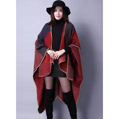 Woolen Long Sleeves Color Block Capes