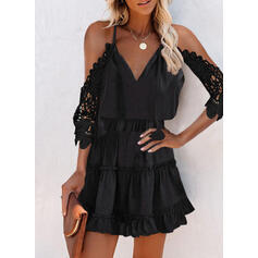 Lace/Solid 3/4 Sleeves A-line Above Knee Little Black/Casual Skater Dresses