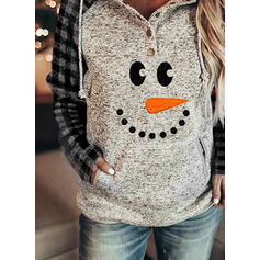 Print Grid Pockets Long Sleeves Christmas Sweatshirt