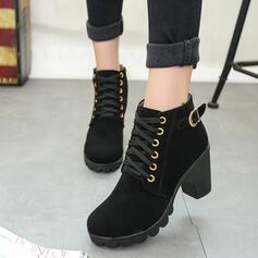 Frauen PU Stämmiger Absatz Stiefelette mit Schnalle Zuschnüren Schuhe