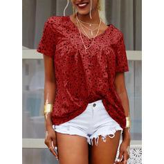 Floral V-Neck Short Sleeves Casual Blouses