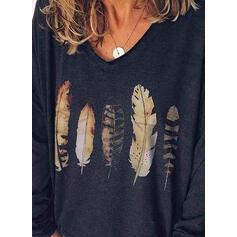 Imprimée Col V Manches Longues Décontractée Tricotage T-shirts