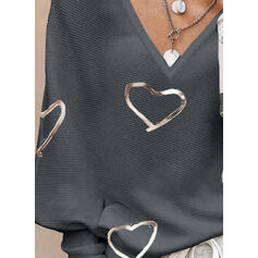 Nadruk Καρδιά V-nyak Hétköznapokra πουλόβερ