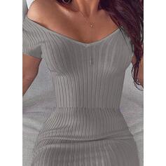 Egyszínű Rövidujjú Testre simuló ruhák Térd feletti Szexis/Party φορέματα