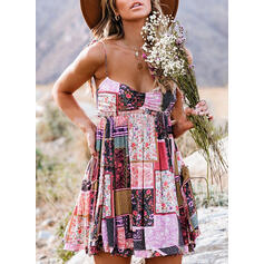 Print/Patchwork Sleeveless A-line Above Knee Casual/Boho/Vacation Dresses