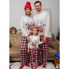 Deer Plaid Cartoon Family Matching Christmas Pajamas