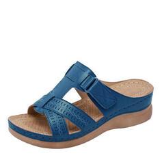 De mujer PU Tacón bajo Sandalias Pantuflas con Agujereado zapatos