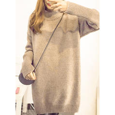 Solid Gros tricot pied de col Robe Pull