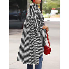Striped Lapel 1/2 Sleeves Button Up Casual Shirt Blouses