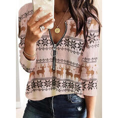 Animal Print V-Neck Casual Christmas Sweaters