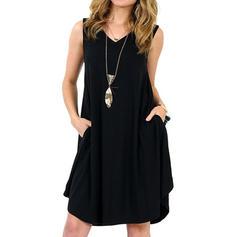 Couleur Unie Sans Manches Droite Longueur Genou Petites Robes Noires/Décontractée/Vacances Robes