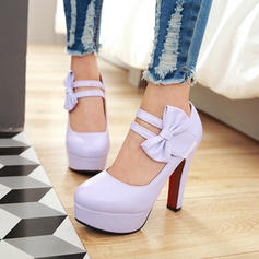 Women's PU Chunky Heel Pumps Platform Closed Toe With Bowknot shoes