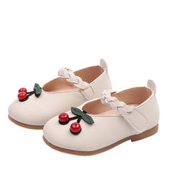 Girl's Leatherette Flat Heel Round Toe Closed Toe Flats Flower Girl Shoes With Velcro