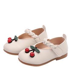 A menina de imitação de couro Heel plana Toe rodada Fechados Sem salto Sapatas do florista com Velcro