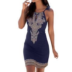 Print Sleeveless Bodycon Above Knee Casual/Boho/Vacation Dresses