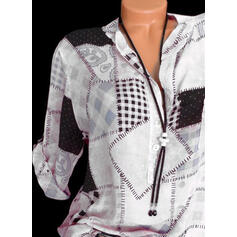 Print Stand collar Long Sleeves Button Up Casual Shirt Blouses