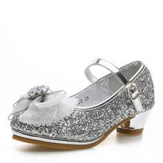 Fille de Glitter mousseux Low Heel bout rond Bout fermé Chaussures de fille de fleur avec Bowknot Velcro