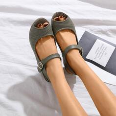 Women's PU Wedge Heel Low Heel Pumps Peep Toe Slingbacks With Buckle Hollow-out shoes
