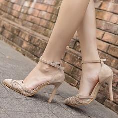 Mulheres Camurça Malha Salto agulha Bombas Fechados com Fivela sapatos