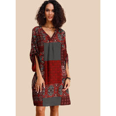 Print/Patchwork 3/4 Sleeves Shift Knee Length Casual/Boho/Vacation Dresses