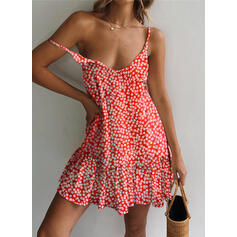 Print/Floral Sleeveless Shift Above Knee Sexy/Casual/Vacation Slip Dresses