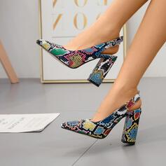 Mulheres PU Salto robusto Bombas Dedo pontudo sapatos