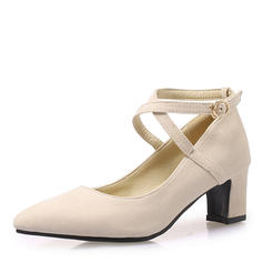 Women's Suede Chunky Heel Pumps With Others shoes