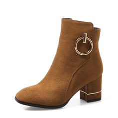 Mulheres Camurça Salto robusto Bombas Botas Bota no tornozelo sapatos