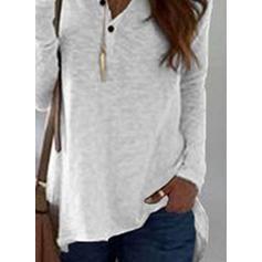 Solide V-hals Lange Mouwen Dichtknopen Breiwerk Overhemd