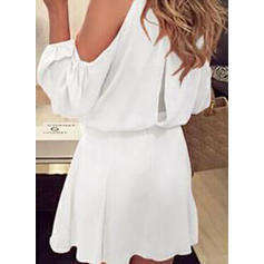 Solid Cold Shoulder Sleeve A-line Above Knee Little Black/Casual Dresses