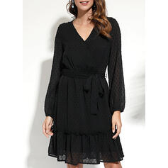 Solid Long Sleeves A-line Above Knee Little Black/Casual/Elegant Wrap/Skater Dresses