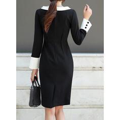 Egyszínű Hosszú ujjú Testre simuló ruhák Térdig érő Hétköznapokra/Elegáns φορέματα