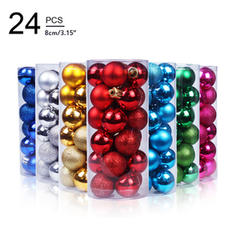 "Merry Christmas 24 PCS 3.15"" PVC Christmas Décor Ball (Set of 24)"
