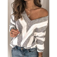 Striped Chunky knit V-Neck Sweaters