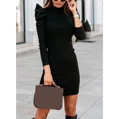Pevný Dlouhé rukávy/Nadýchané rukávy Přiléhavé Nad kolena Neformální Šaty