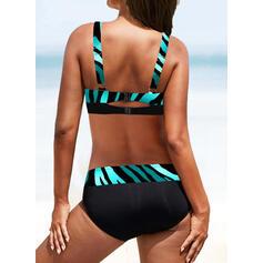 Hoge Taille Print Riem V-hals Sexy Vintage Grote maat Bikini's Badpakken