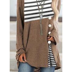 Striped Round Neck Long Sleeves Sweatshirt