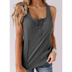 Solid Round Neck Sleeveless Button Up Casual Tank Tops