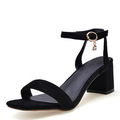 Women's Leatherette Chunky Heel Sandals Pumps Peep Toe Slingbacks With Buckle shoes