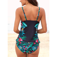 Floral Strap High Neck Elegant Attractive Tankinis Swimsuits