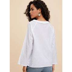 Solido Girocollo Maniche lunghe Casuale Elegante Camicie
