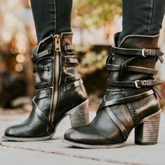 Frauen PU Stämmiger Absatz Absatzschuhe Geschlossene Zehe Stiefel Stiefel-Wadenlang mit Schnalle Reißverschluss Schuhe